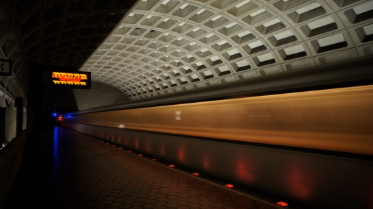 slow shutter photo of  D.C. metro subway train